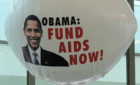 Vienna AIDS Conference protest balloon.