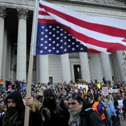Occupy Wall Street protesters and union members stage a protest near Wall Street in New York