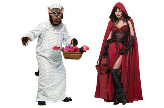 Couple dressed as wolf and Little Red Riding Hood.