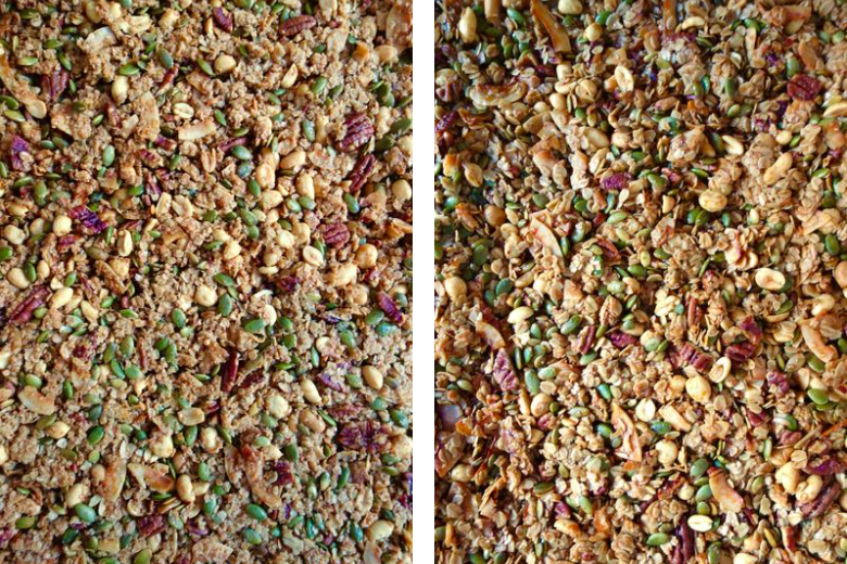 The mixture on the left is more blended than the mixture on the right.