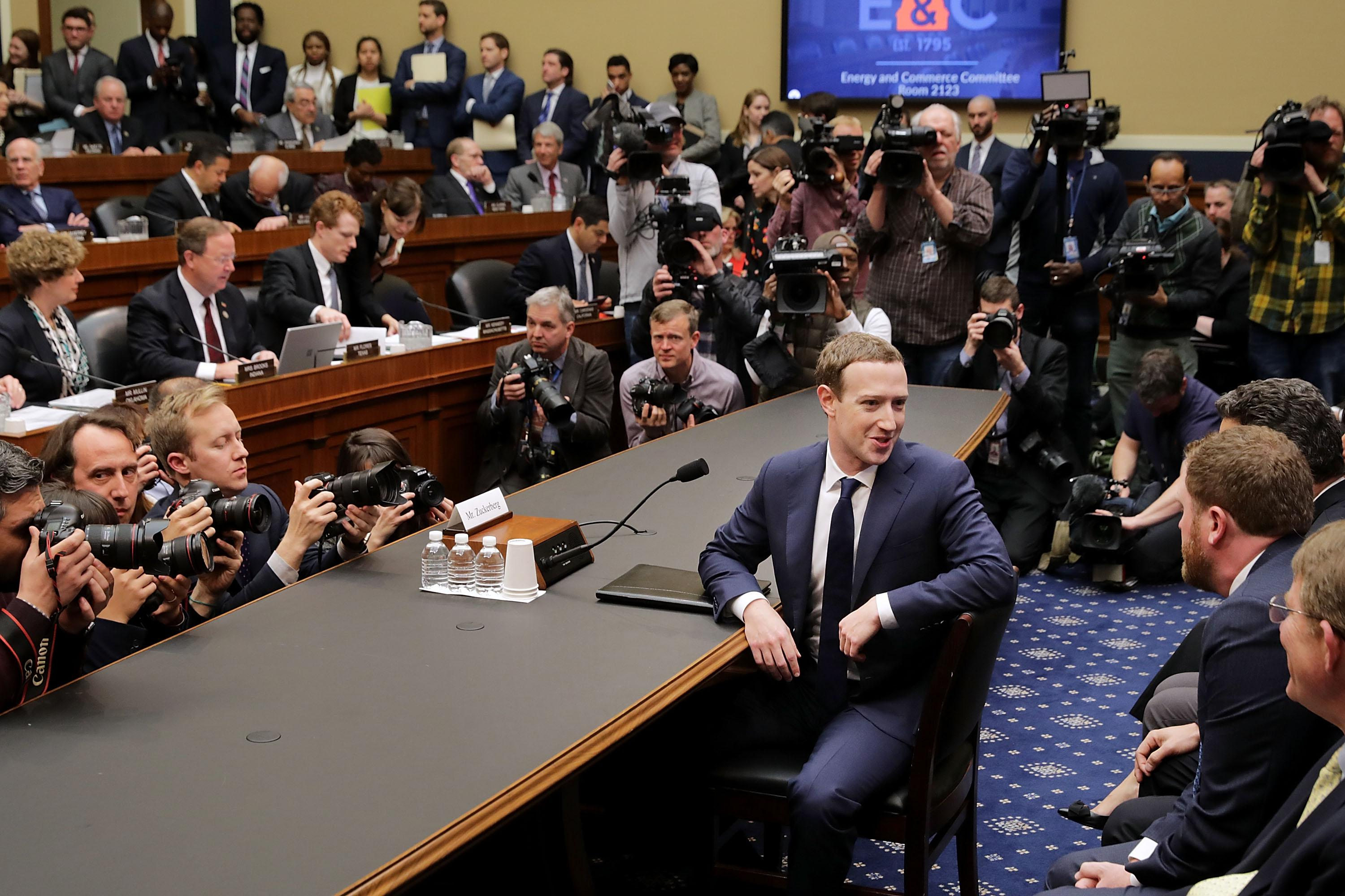 Mark Zuckerberg prepares to testify before the House Energy and Commerce Committee in the Rayburn House Office Building.