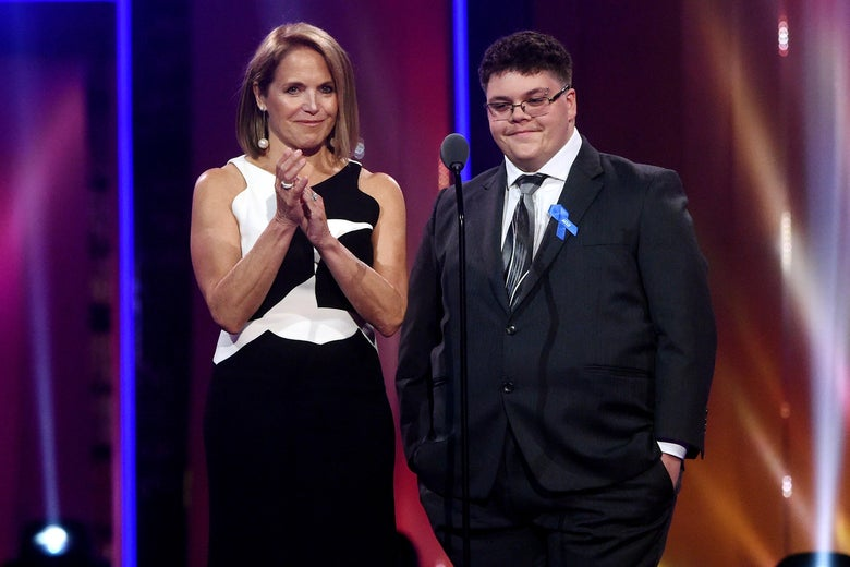 NEW YORK, NY - JUNE 22:  Katie Couric and Gavin Grimm speak onstage at the Logo's 2017 Trailblazer Honors event at Cathedral of St. John the Divine on June 22, 2017 in New York City.  (Photo by Jamie McCarthy/Getty Images)
