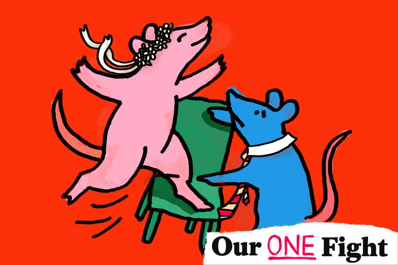 Illustration of a pink adventurous mouse and a blue cautious one.