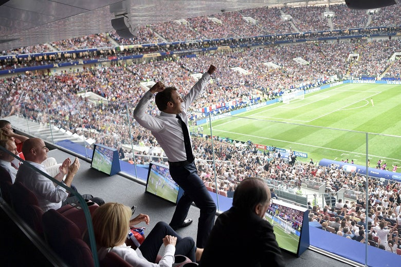French President Emmanuel Macron reacts during the final match between France and Croatia at the 2018 soccer World Cup in the Luzhniki Stadium in Moscow, Russia on July 15, 2018.