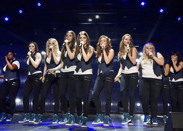 Anna Kendrick, Brittany Snow, Rebel Wilson, Hana Mae Lee, Hailee Steinfeld, Ester Dean and Kelley Jakle in Pitch Perfect 2.