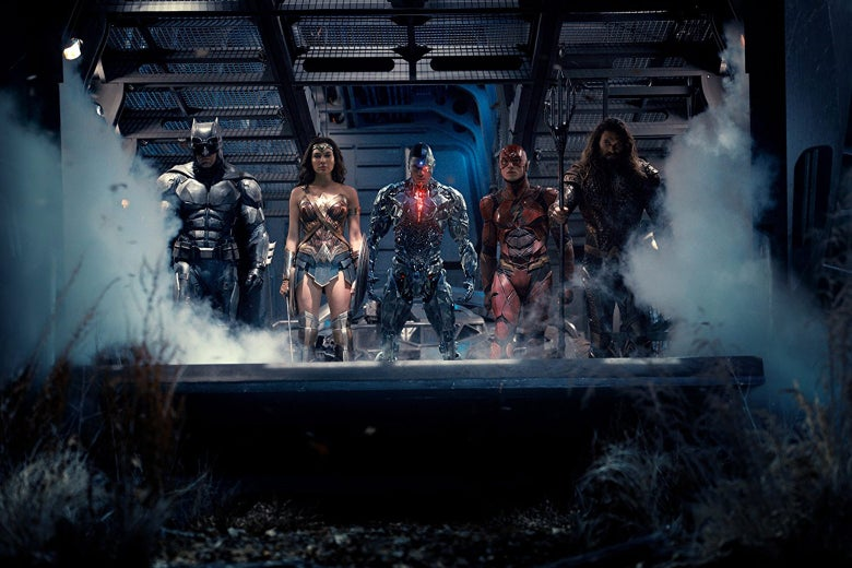 Ben Affleck, Jason Momoa, Gal Gadot, Ezra Miller, and Ray Fisher in Justice League (2017)