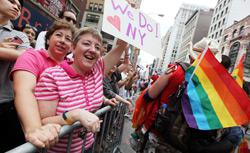 Valerie Coleman and Joan Katter, a couple , celebrate during the Gay Pride. Click image to expand.