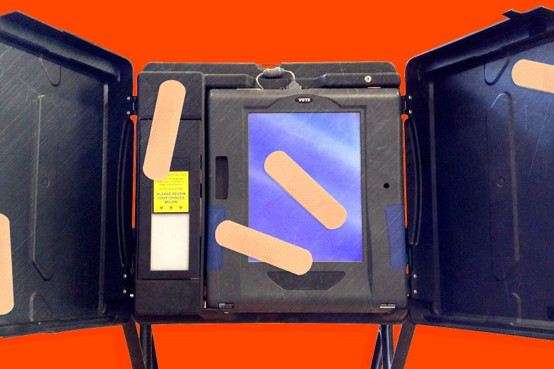 Bandages placed on a voting machine.
