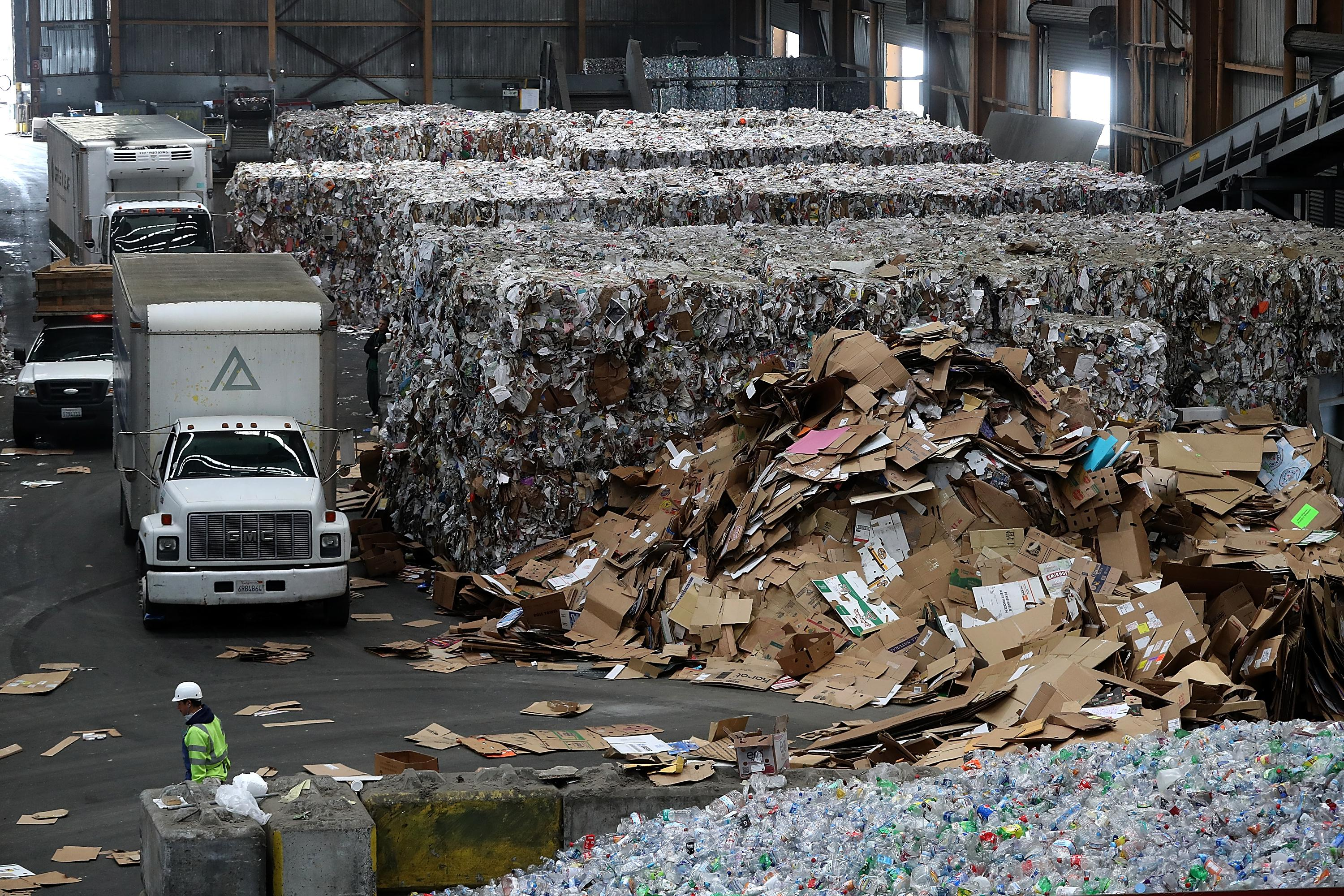 Piles and bales of recyclable cardboard inside a giant warehouse