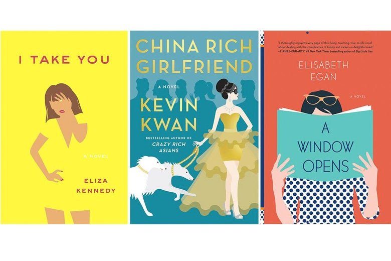 The covers of I Take You, China Rich Girlfriend, and A Window Opens.