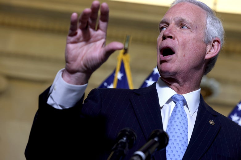 Sen. Ron Johnson (R-WI) speaks at a news conference with Republican senators to discuss the origins of COVID-19 on June 10, 2021 in Washington, D.C.