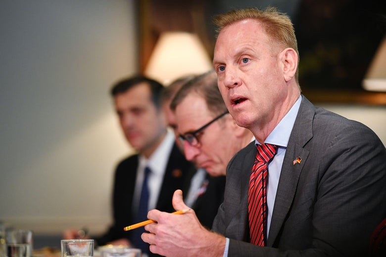 Acting Defense Secretary Patrick Shanahan takes part in a bilateral meeting with Germany's Defense Minister at the Pentagon in Washington, DC on April 12, 2019.
