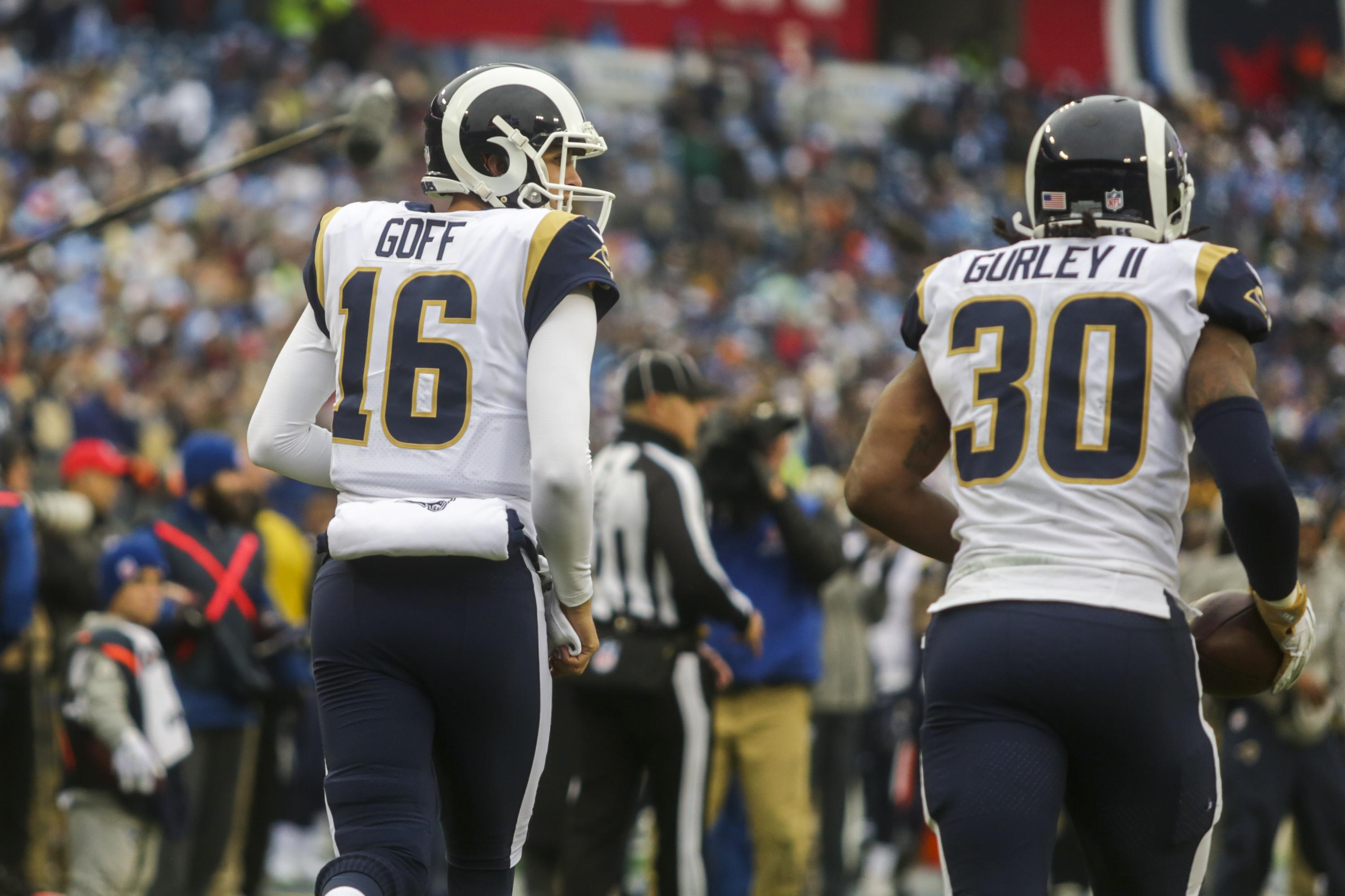 Quarterback Jared Goff and running back Todd Gurley II of the Los Angeles Rams.
