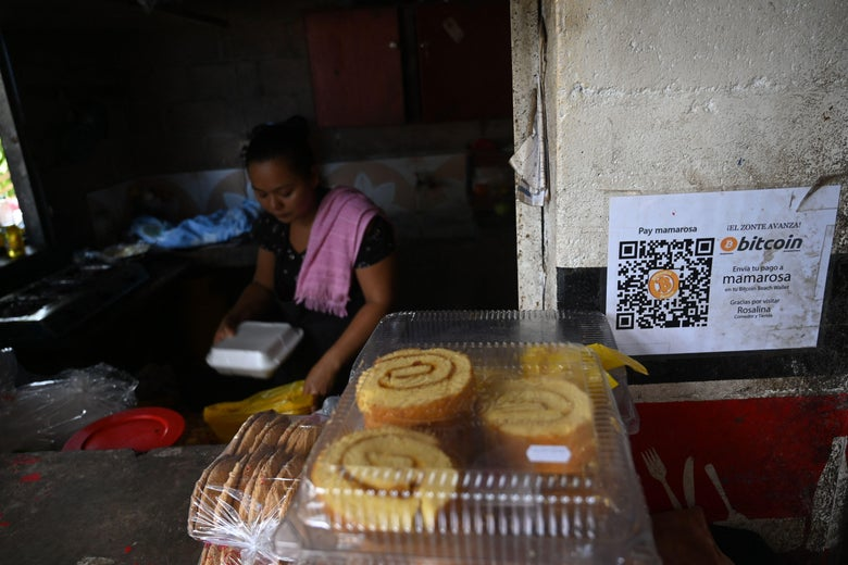 A woman is seen in a store where bitcoins are accepted in El Zonte, La Libertad, El Salvador.