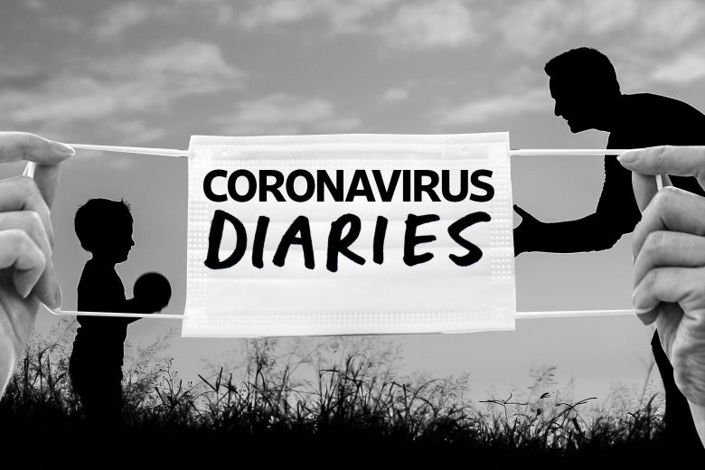 "A mask that says ""Coronavirus Diaries"" over an image of a father and child playing catch outside."
