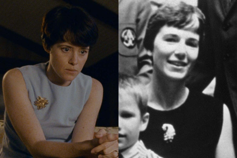 Side-by-side of Claire Foy and Janet Armstrong.