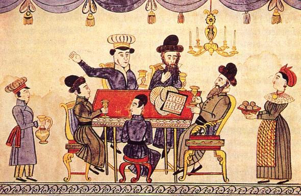 Jews celebrating Passover. Lubok, 19th century.