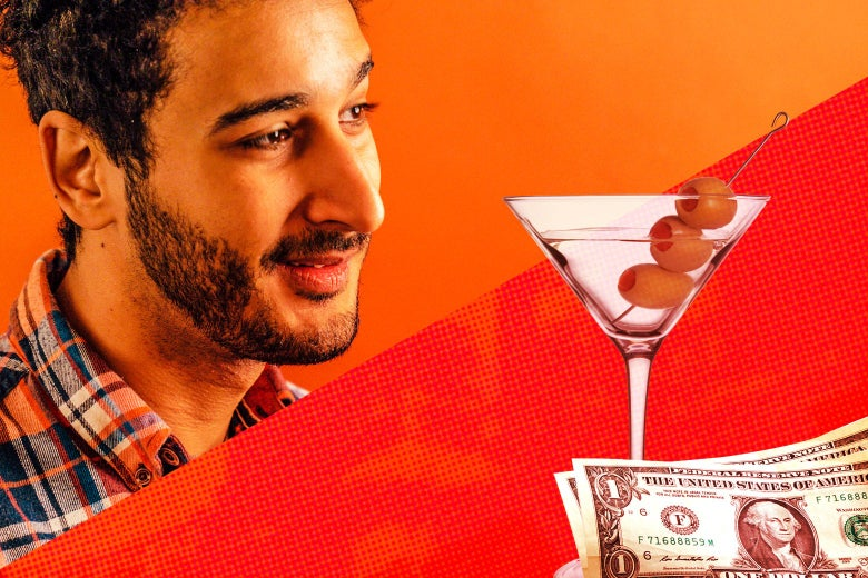 Aymann Ismail and a Martini with cash next to it.