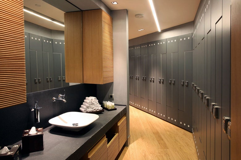 A locker room at an upscale spa.