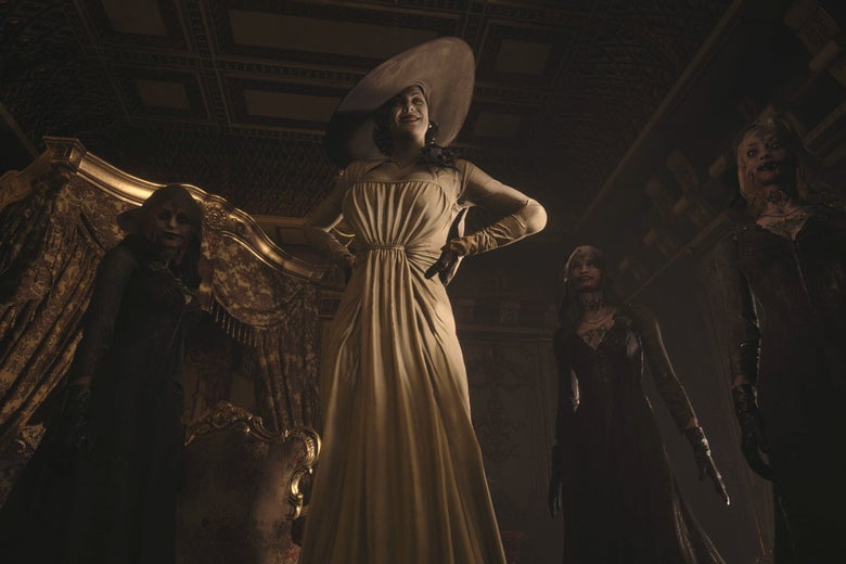 A tall woman with a floppy hat and a white dress stands among a crowd of zombies. They are all washed in a sepia tone.