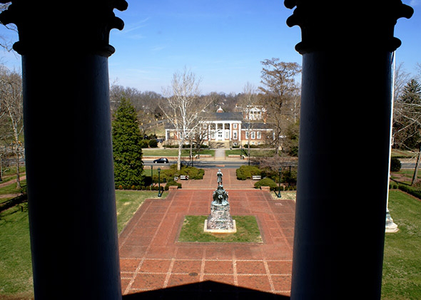 View from the rotunda at the UVA campus, March 2008.