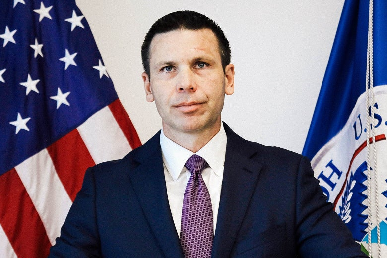 Kevin McAleenan listens to questions from DHS personnel at One World Trade Center on Monday in New York City.