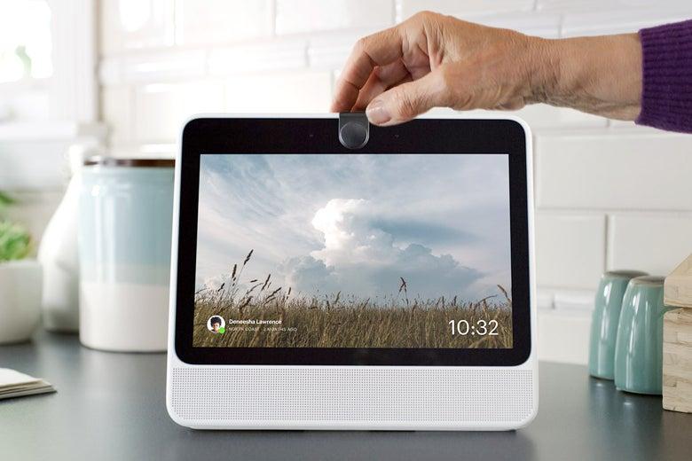 A Portal device on a countertop.