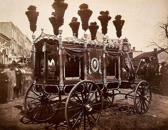 President Abraham Lincoln's hearse in Springfield, Illinois, in 1865