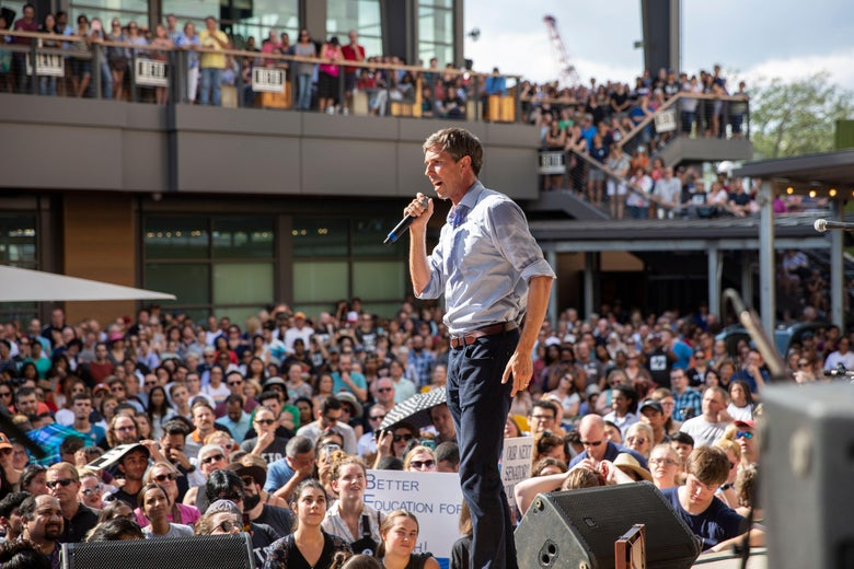 Beto O'Rourke speaks during a campaign rally.