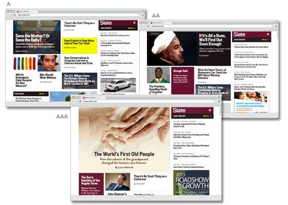 three homepage templates