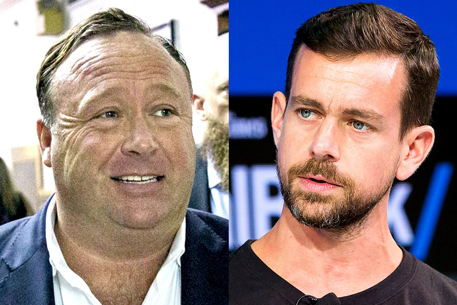 Alex Jones and Jack Dorsey, a diptych.