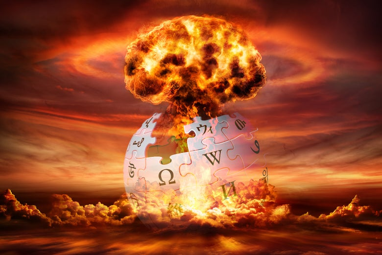 A mushroom cloud envelops the Wikipedia logo.