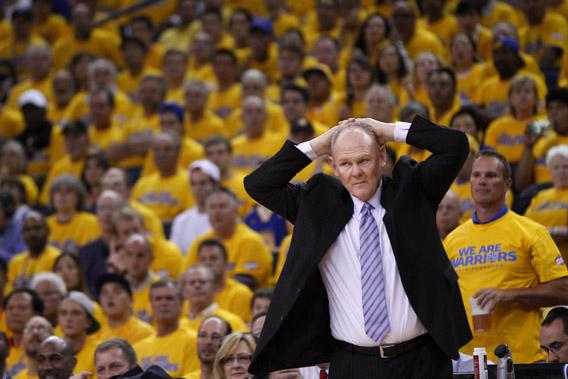 Denver Nuggets head coach George Karl reacts against the Golden State Warriors during Game 4 of their NBA Western Division quarter-final basketball playoff game in Oakland, California April 28, 2013.