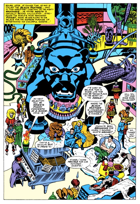 A panel from Fantastic Four #52 (July 1966), Black Panther's first appearance in the Marvel universe.