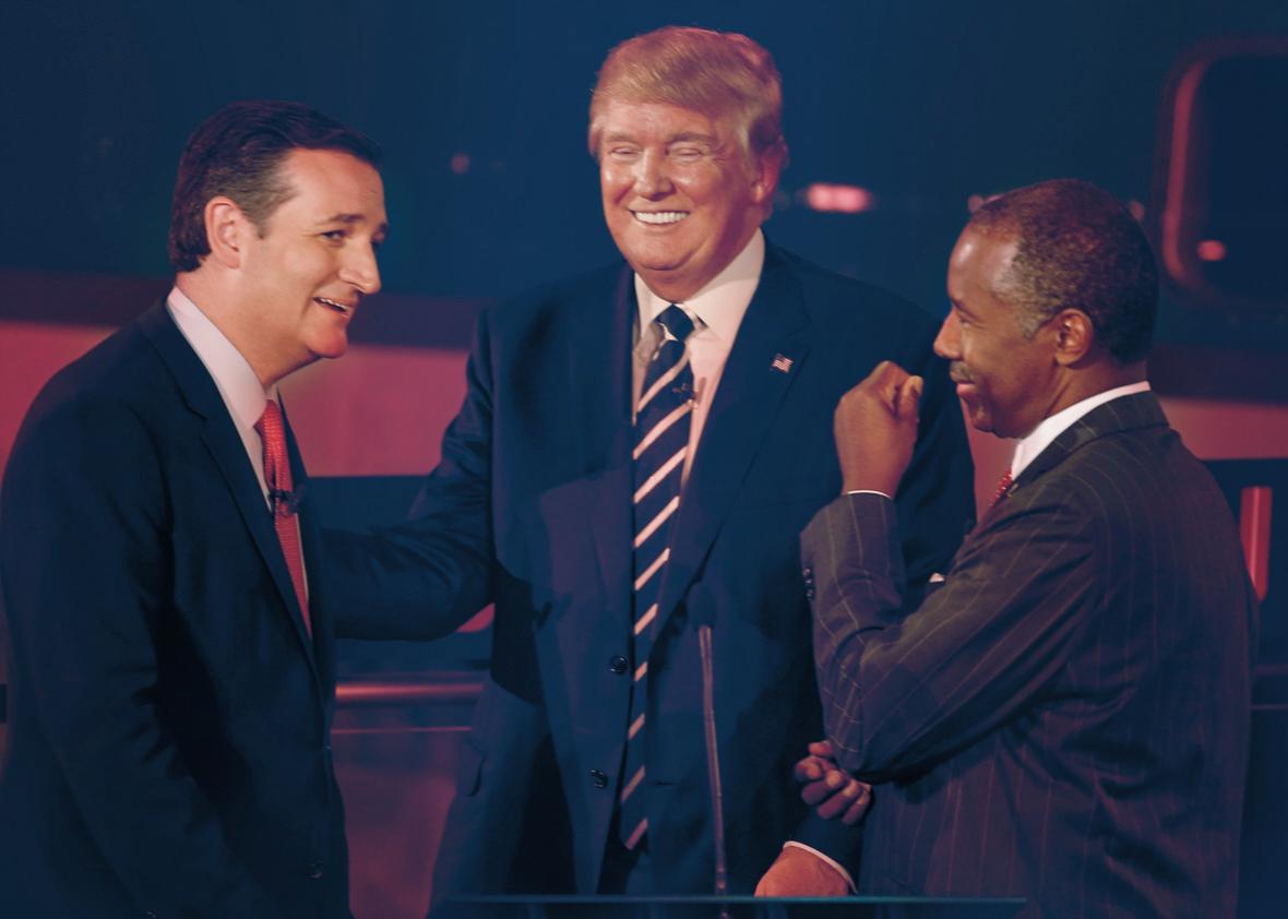 Ted Cruz, Donald Trump, Ben Carson.