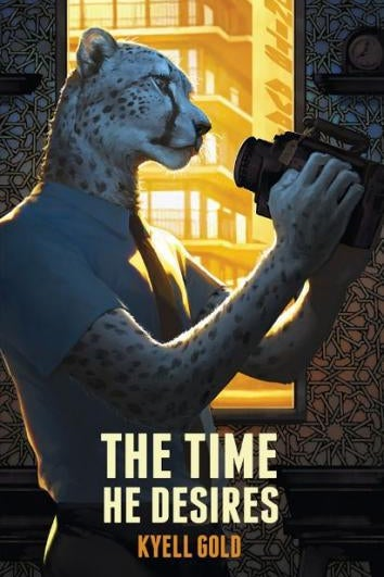 A leopard in a shirt and tie holds binoculars on the cover of The Time He Desires by Kyell Gold.