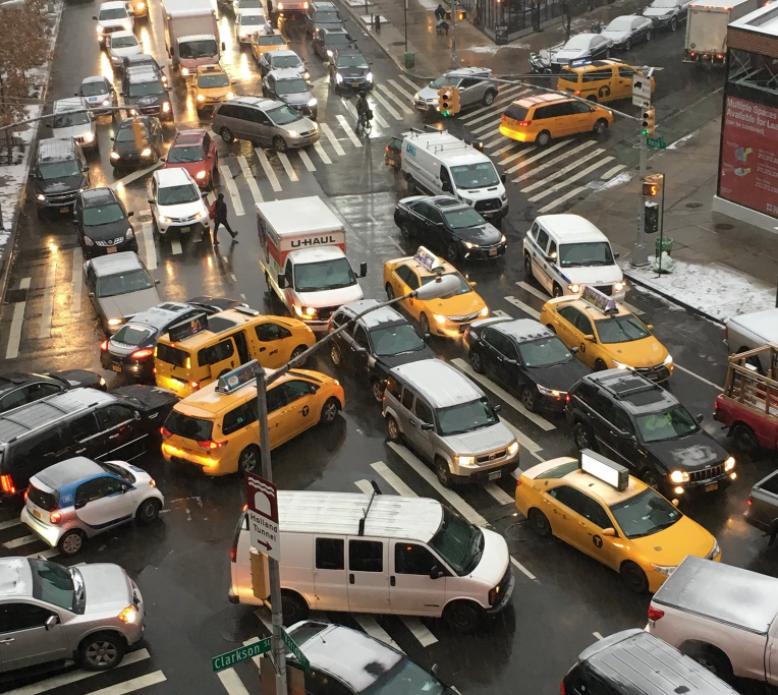 Car culture on Varick Street in New York City, December 2017.