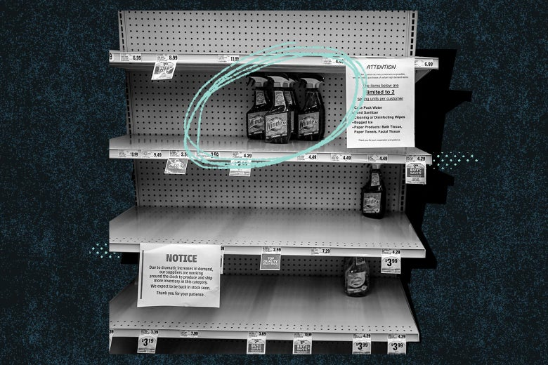 A mostly empty grocery shelf with bottles of spray circled.