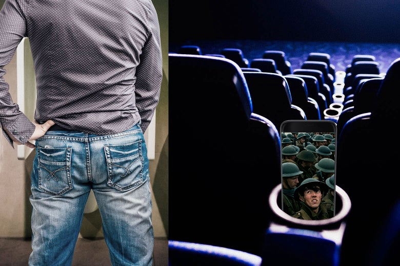 Photo illustration: A man stands in front of a urinal as a split-screen image shows his cellphone with a scene from Dunkirk on it in the theater.