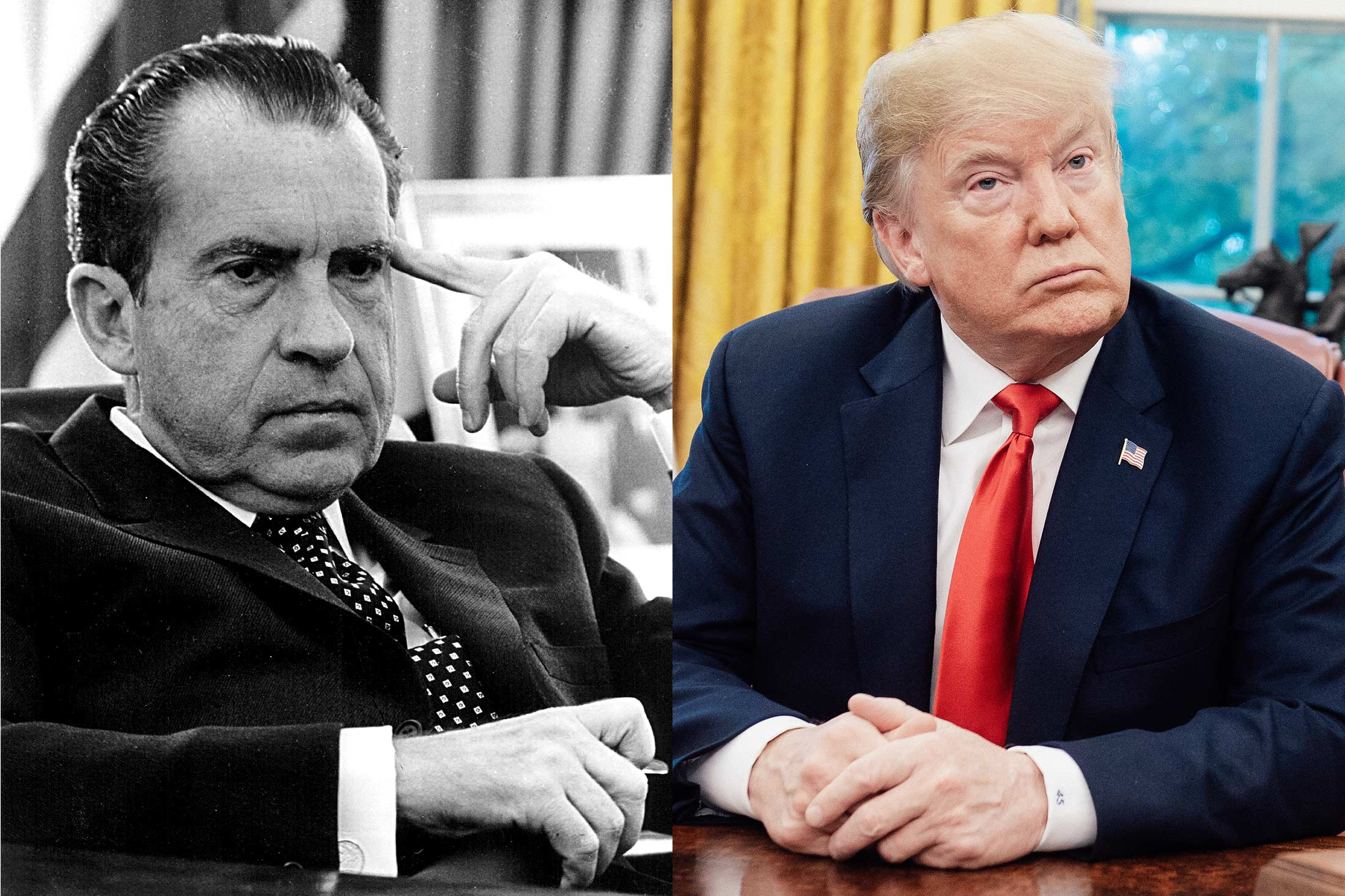 Side-by-side photo illustration of Richard Nixon and Donald Trump, each looking pensively into the distance.