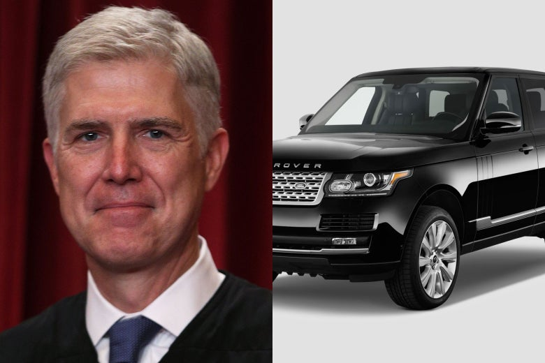 side-by-side photos of Neil Gorsuch and a Land Rover.