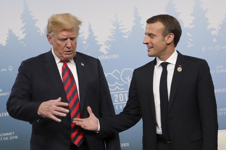 President Donald Trump and French President Emmanuel Macron hold a meeting on the sidelines of the G7 Summit in La Malbaie, Quebec, Canada, June 8, 2018.