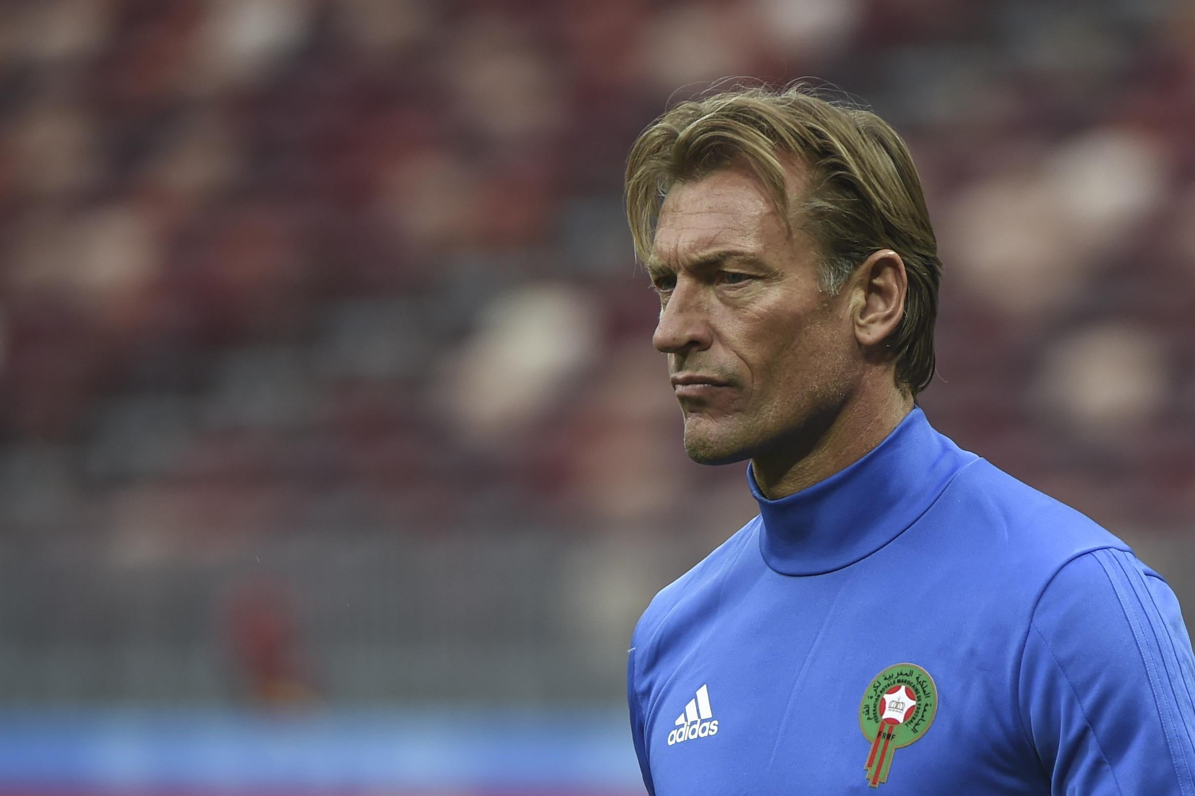Morocco's French coach Herve Renard leads a training session at the Luzhniki Stadium in Moscow on June 19, 2018, on the eve of the Russia 2018 World Cup Group B football match between Portugal and Morocco. (Photo by Fadel SENNA / AFP)        (Photo credit should read FADEL SENNA/AFP/Getty Images)