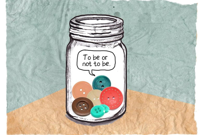 A jar with buttons in it.