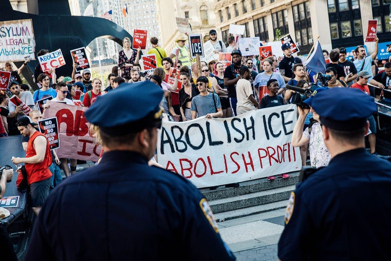 Activists march and rally against Immigration and Customs Enforcement  across the street from the ICE offices at Federal Plaza in New York on June 29.
