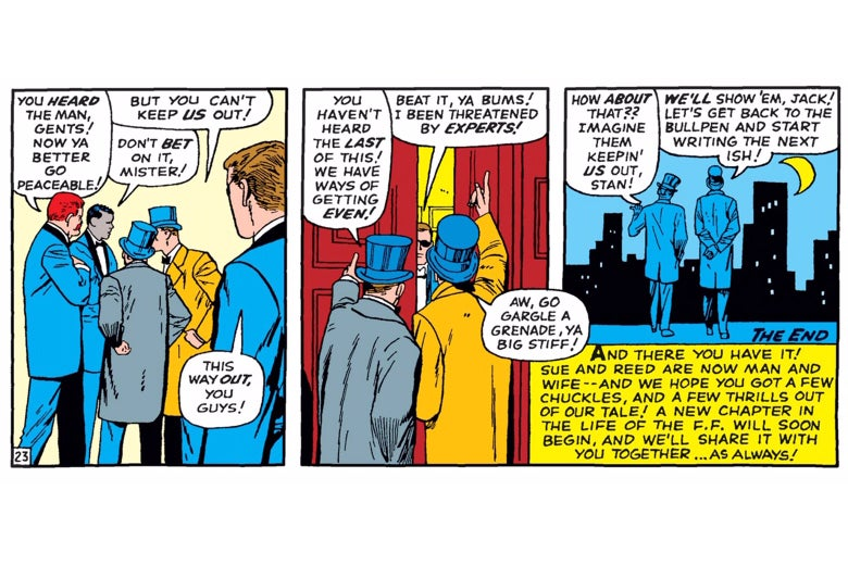 Stan Lee and Jack Kirby attempt to crash the wedding of Mr. Fantastic and the Invisible Girl.