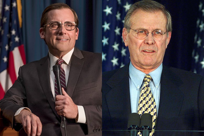 Side-by-side of Steve Carell and former Defense Secretary Donald Rumsfeld.