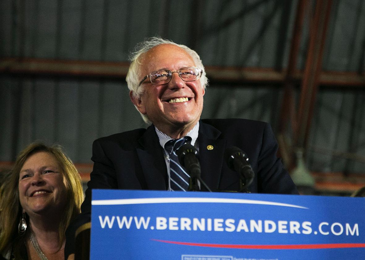 Democratic presidential candidate Sen. Bernie Sanders speaks at Barker Hangar on June 7, 2016 in Santa Monica, California.