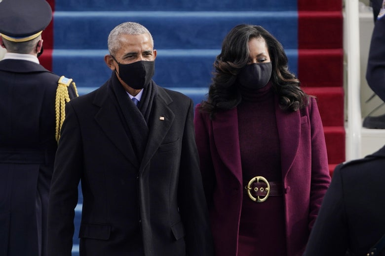 Former President Barack Obama and his wife Michelle arrive for the 59th inaugural ceremony on the West Front of the U.S. Capitol on January 20, 2021 in Washington, D.C.