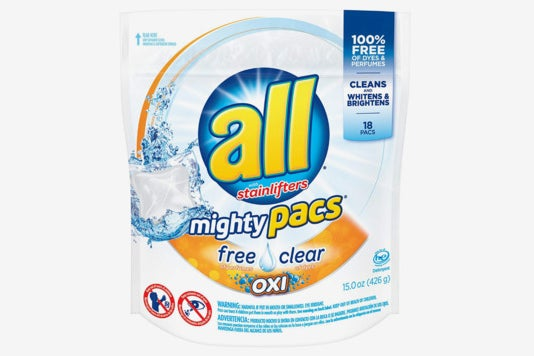 All Mighty Pacs Laundry Detergent, Free Clear for Sensitive Skin.